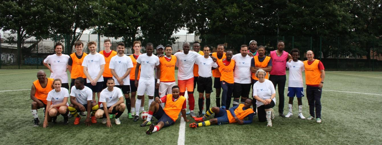 Freedom from Torture's Refugee Week Client and Staff Football Teams