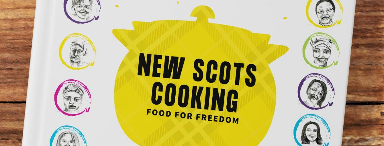 The colourful front cover of New Scots Cooking: Food for Freedom