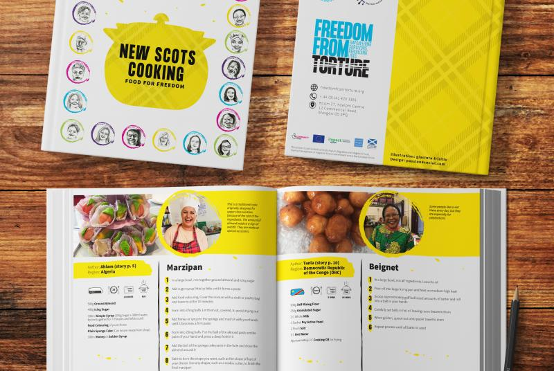 The New Scots Cooking recipe book - displaying the front and back cover and one of the spreads inside.
