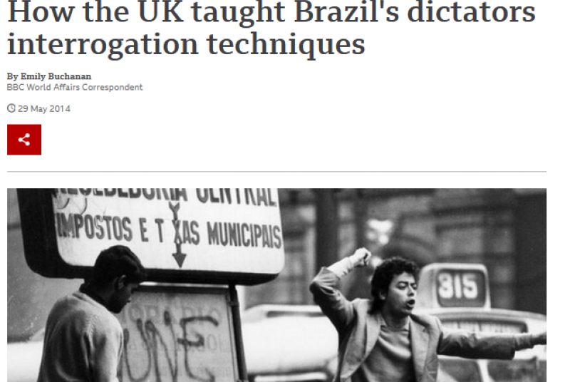 An image of a BBC article with the headline 'How the UK taught Brazil's dictators interrogation techniques.'