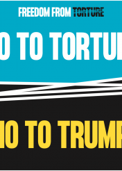 No to torture, no to Trump protest banner