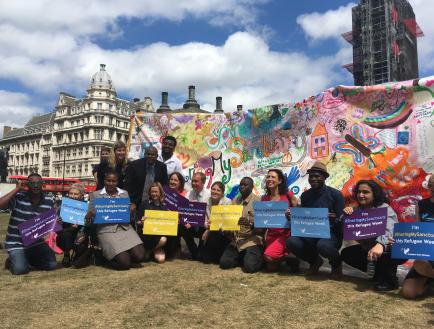 Freedom from Torture during Refugee Week 2018 at their Parliament Square sharing my sanctuary action