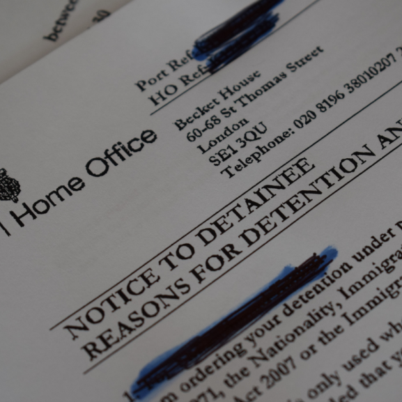 Home Office detention letter