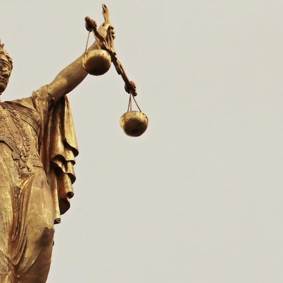 A picture of the Lady Justice statue