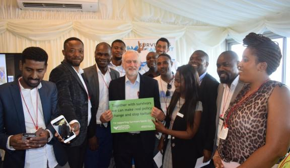 Members of SSO with Jeremy Corbyn