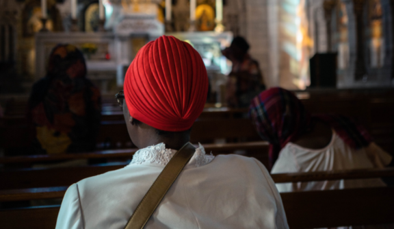 African lady in church